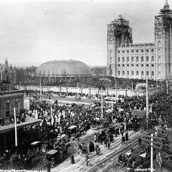 The Salt Lake Temple in April 1892 when the capstone was set. The temple was finally completed in April 1893, four years after Moyle passed away.