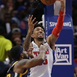 Detroit Pistons forward Christian Wood (35) grabs a loose ball against Utah Jazz center Tony Bradley (13) during the second half of an NBA basketball game Saturday, March 7, 2020, in Detroit.
