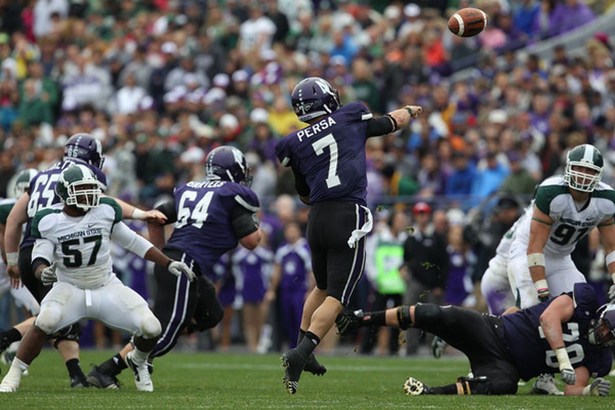 Dan Persa of the Northwestern Wildcats throws a pass against the Michigan State Spartans at Ryan Field on October 23 2010 in Evanston Illinois. Michigan State defeated Northwestern 35-27. (Photo by Jonathan Daniel/Getty Images)