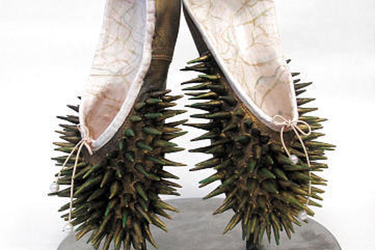 """Pointe shoe artwork was made by Lenka Konopasek for Ballet West's """"Shoe-In"""" event last year."""