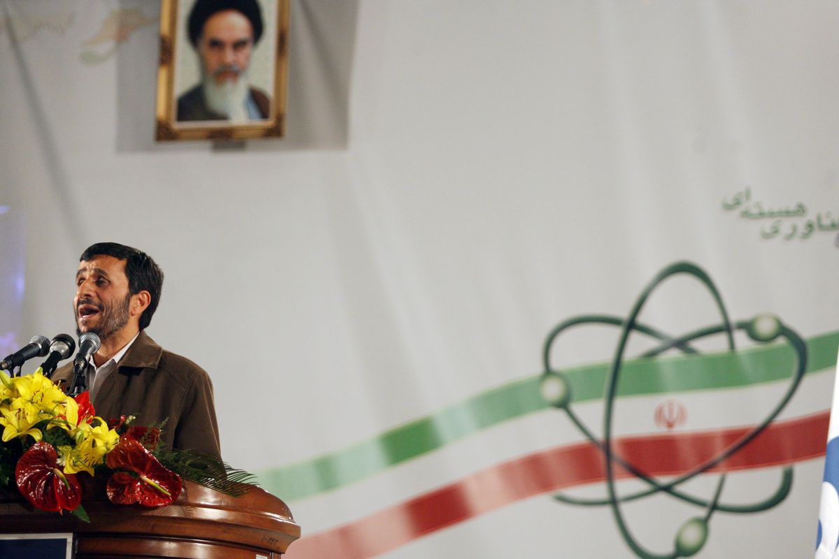 Iran's then-president Mahmoud Ahmadinejad speaks at the Natanz nuclear facility in 2007