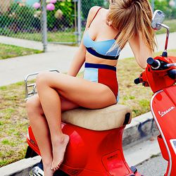 Any high-waisted bikini that matches a Vespa is cool by us.
