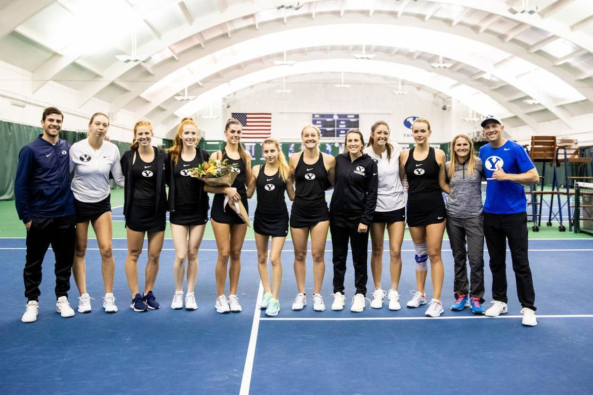 The BYU women's tennis team celebrated its lone senior, Taylah Beckman, in its match against No. 8 Pepperdine.