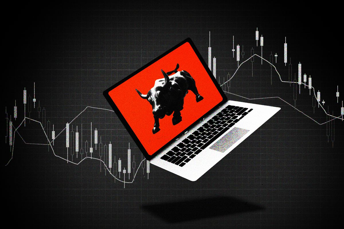 An illustration of a bull on a laptop screen.