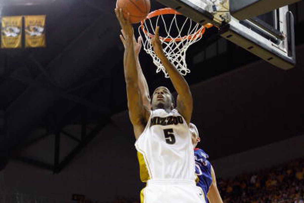 Leo Lyons #5 of the Missouri Tigers puts a shot up against the Kansas Jayhawks during the game on February 9, 2009 at Mizzou Arena in Columbia, Missouri.