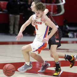 Murray's Jaxson Workman grabs Timpview's Joshua Hansen as he dribbles the ball in the 5A boys basketball state quarterfinals at the Huntsman Center in Salt Lake City on Tuesday, Feb. 25, 2020. Timpview won 53-32.