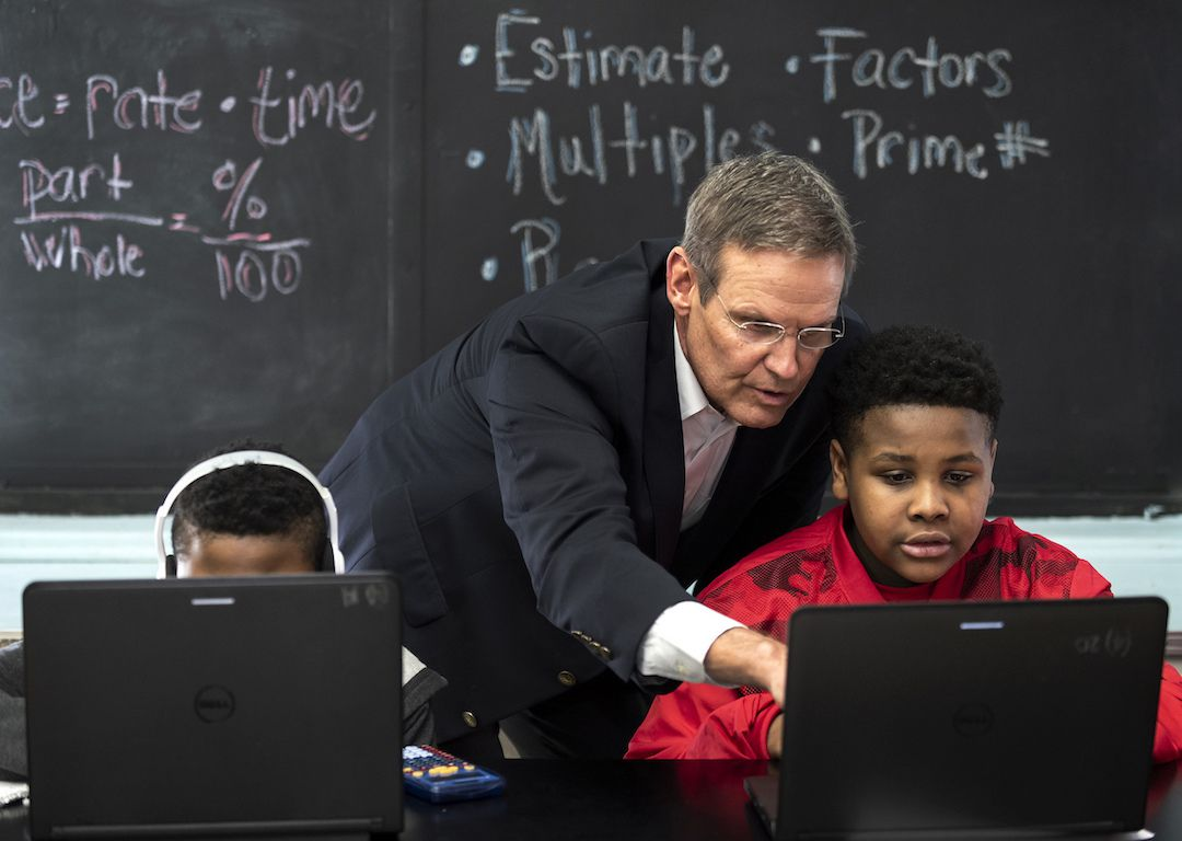 Gov. Bill Lee interacts with students at McKissack Middle School in Nashville, one of five cities that would be impacted initially if his education savings account proposal is approved by Tennessee's legislature.