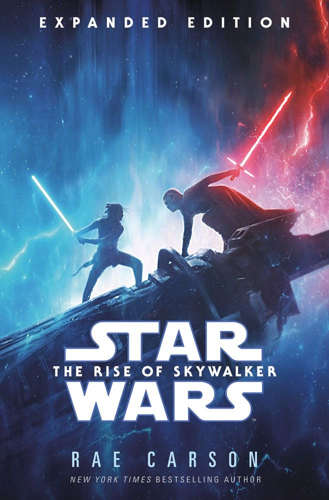 rey and kylo ren fight on the cover of the rise of skywalker novelization