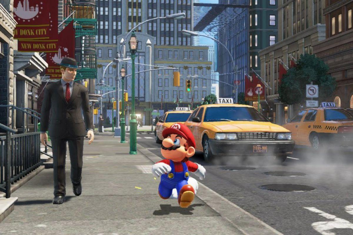 Still of Mario walking down the street in 'Super Mario Odyssey'