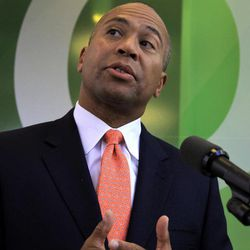 Massachusetts Gov. Deval Patrick speaks with reporters in Cambridge, Mass., Thursday, Sept. 27, 2012.  Patrick says he expects criminal charges will be brought in an investigation of misconduct by a state lab chemist who admitted faking drug sample results, forging signatures and skipping proper procedures. Patrick said he shut down the drug lab soon after learning of admissions chemist Annie Dookhan made during an interview with state police at the end of August.