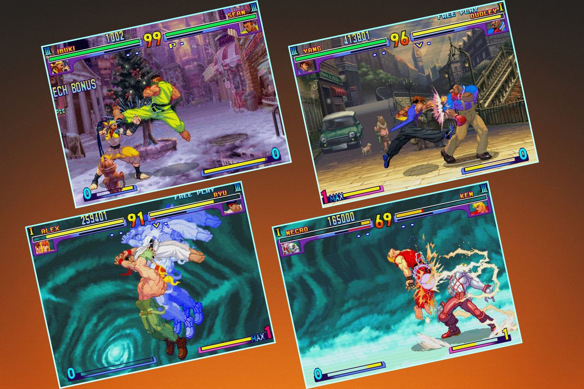 Graphic grid featuring four screens from Street Fighter 3