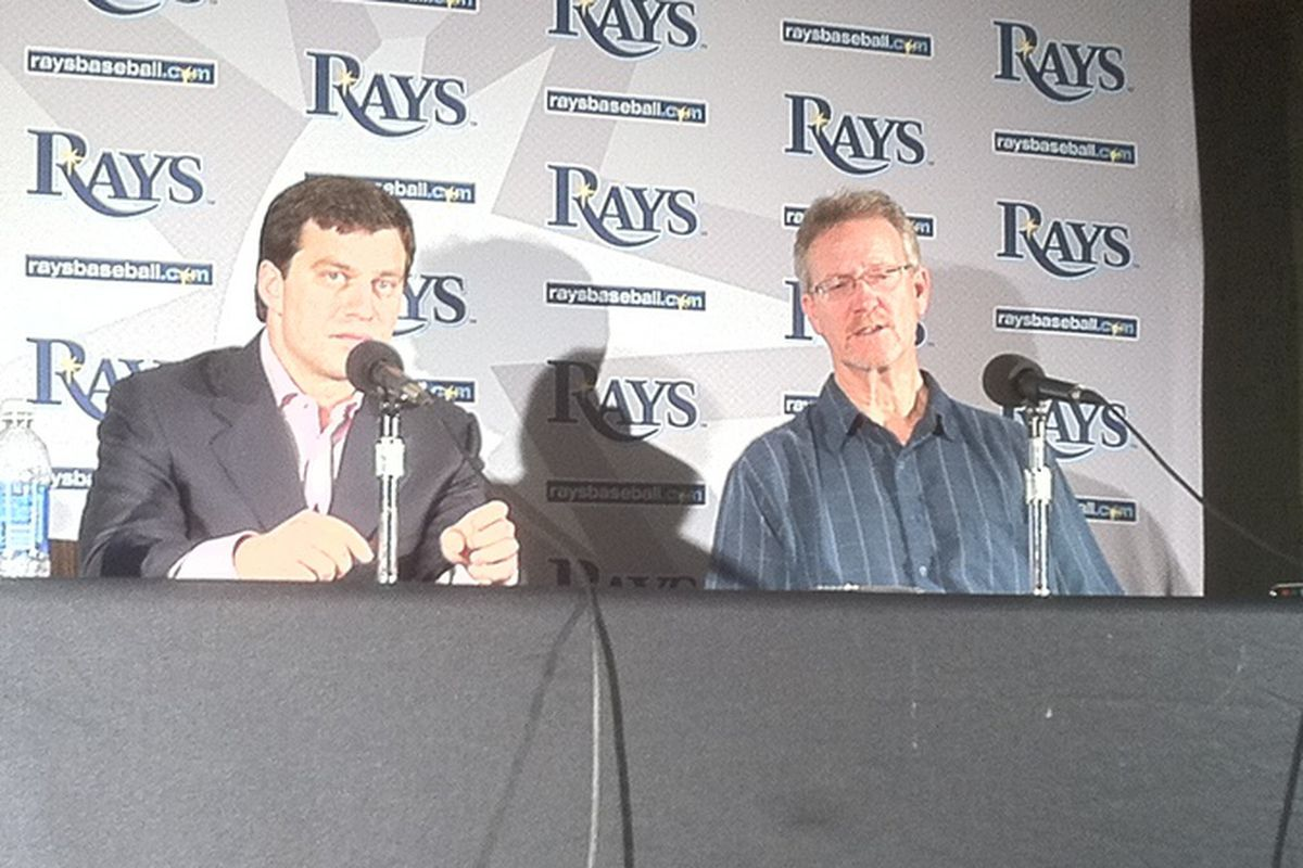 Rays Executive VP of Baseball Operations Andrew Friedman and Scouting Director R.J. Harrison discuss the upcoming draft at Tropicana Field, Tuesday, May 31, 2011. (Courtesy: BHSN/Adam Kohler)