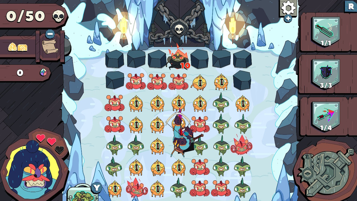 Ice Cave level of Grindstone on Nintendo Switch