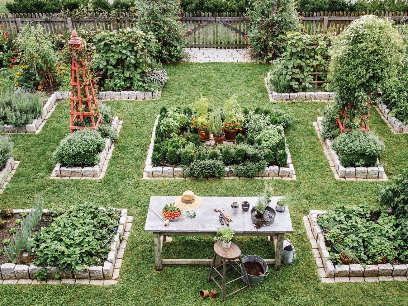 Summer 2021, Landscaping, vegetable and herb garden, bird's eye view