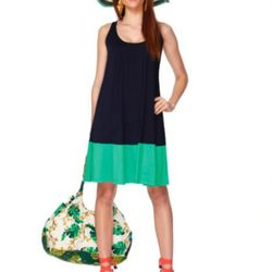 Colorblock tank dress in navy/green ($29.99), wedge sandals in palm print ($29.99, online exclusive), tote in wall paper floral print ($29.99), striped hat in navy ($19.99).