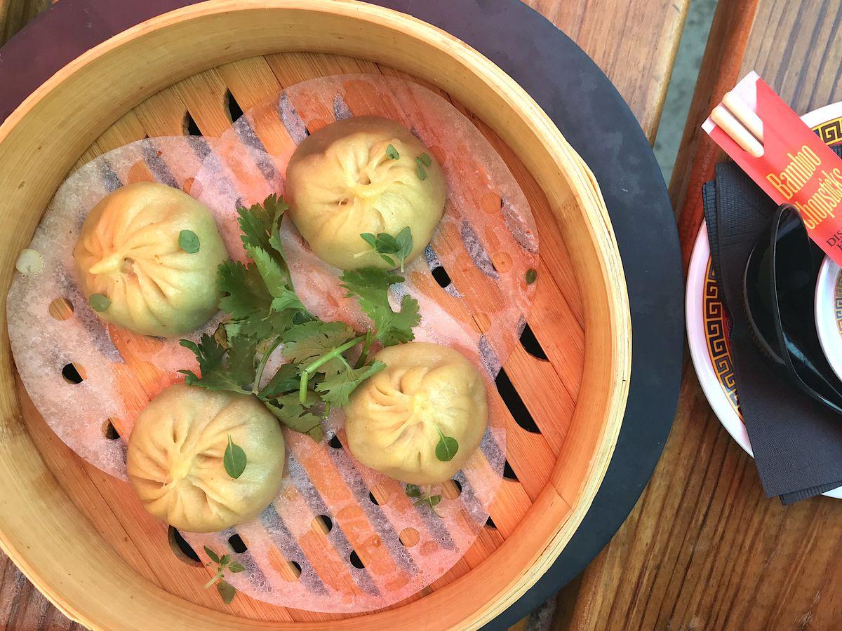 Pork dumplings steamed in bamboo basket