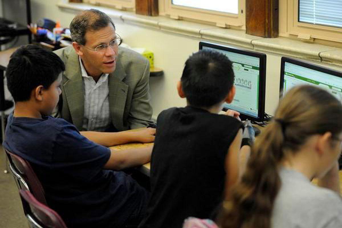Denver Public Schools Superintendent Tom Boasberg talks to sixth graders in 2012 .