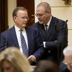 FILE: A committee of lawmakers said Thursday that Sen. Stuart Adams' SB115, affecting oversight of Rocky Mountain Power and dealing with multiple renewable energy issues, needs more discussion and debate among their colleagues. They advanced the bill.
