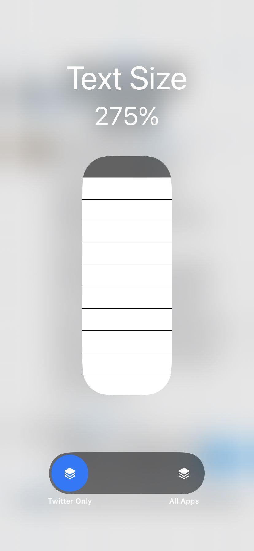 La palanca en la parte inferior le permite cambiar el tamaño del texto para una sola aplicación.