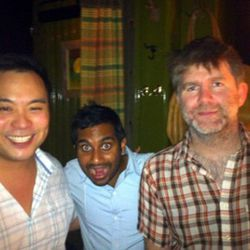 """David Chang with LCD Soundsytem's James Murphy and Aziz Ansari. Many women dream about this moment. (<a href=""""http://twitpic.com/2c0xy8"""" rel=""""nofollow"""">photo</a>)"""