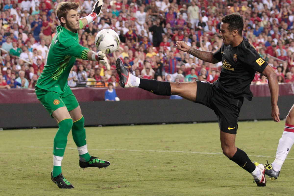 Thiago and David de Gea share a slightly less tender moment two years ago.