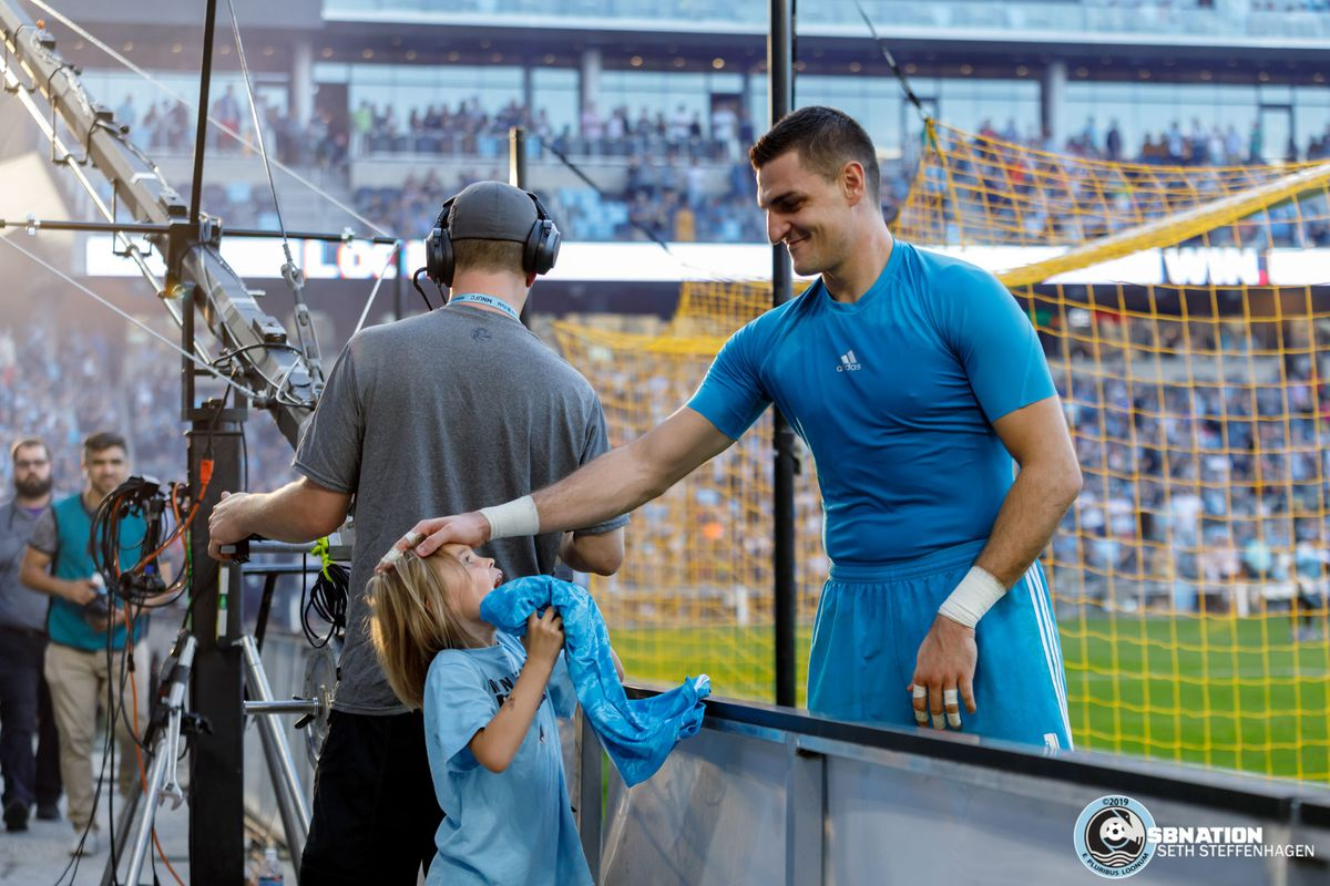 September 15, 2019 - Saint Paul, Minnesota, United States - Minnesota United goalkeeper Vito Mannone (1) gives a young fan his jersey after Minnesota United defeated Real Salt Lake by a score of 3-1 at Allianz Field.