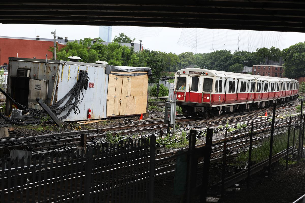 A Red Line train at JFK/UMass.