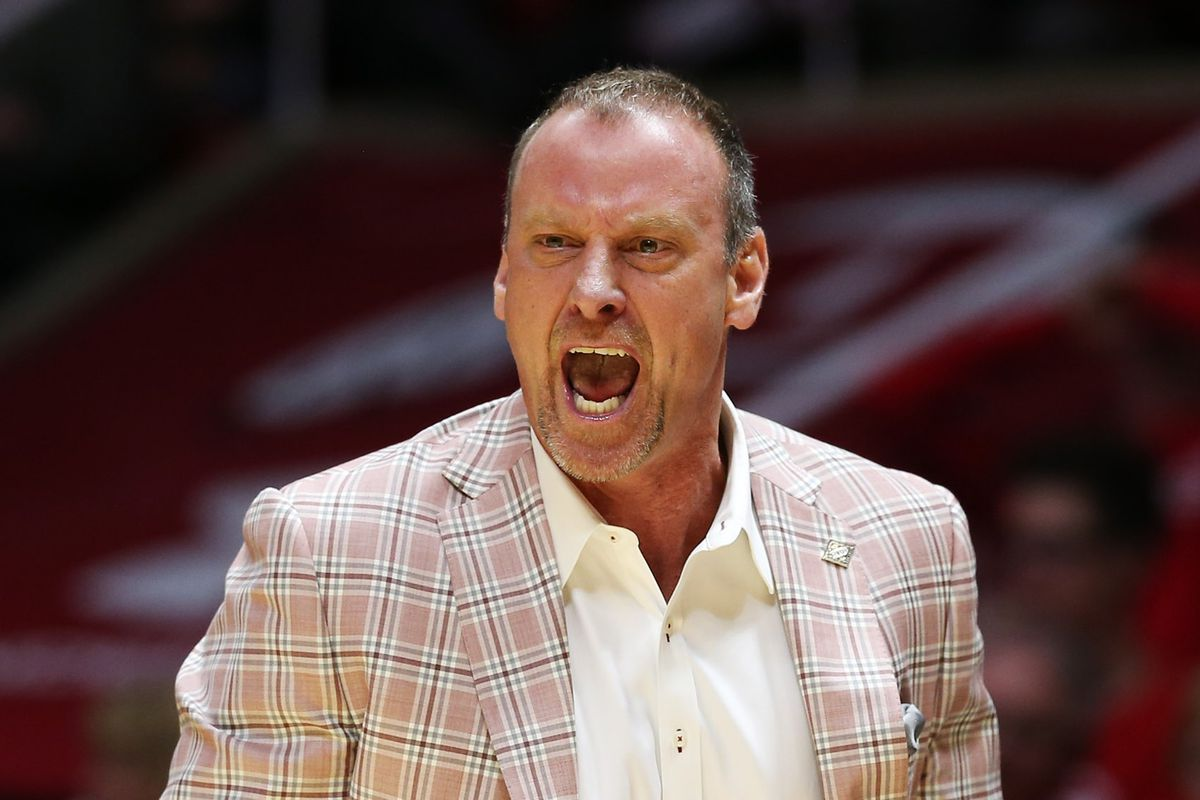 20180315 Utah Utes head coach Larry Krystkowiak comes unglued as he marches onto the floor after a referee as Utah and UC Davis play in an NIT basketball game at the Huntsman Center in Salt Lake City on Wednesday, March 14, 2018. Utah won 69-59.