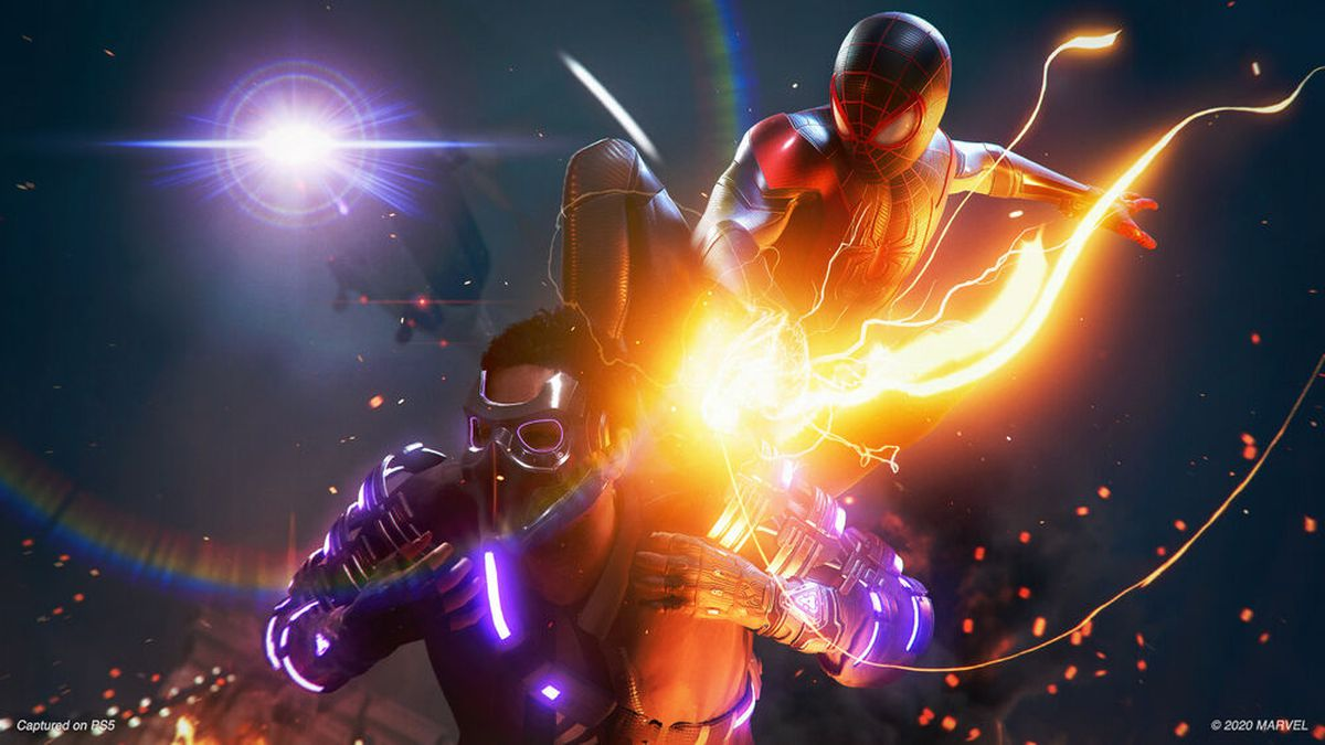Miles attacks an enemy from behind in Spider-Man: Miles Morales