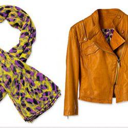 Scarf, $24, leather jacket $299