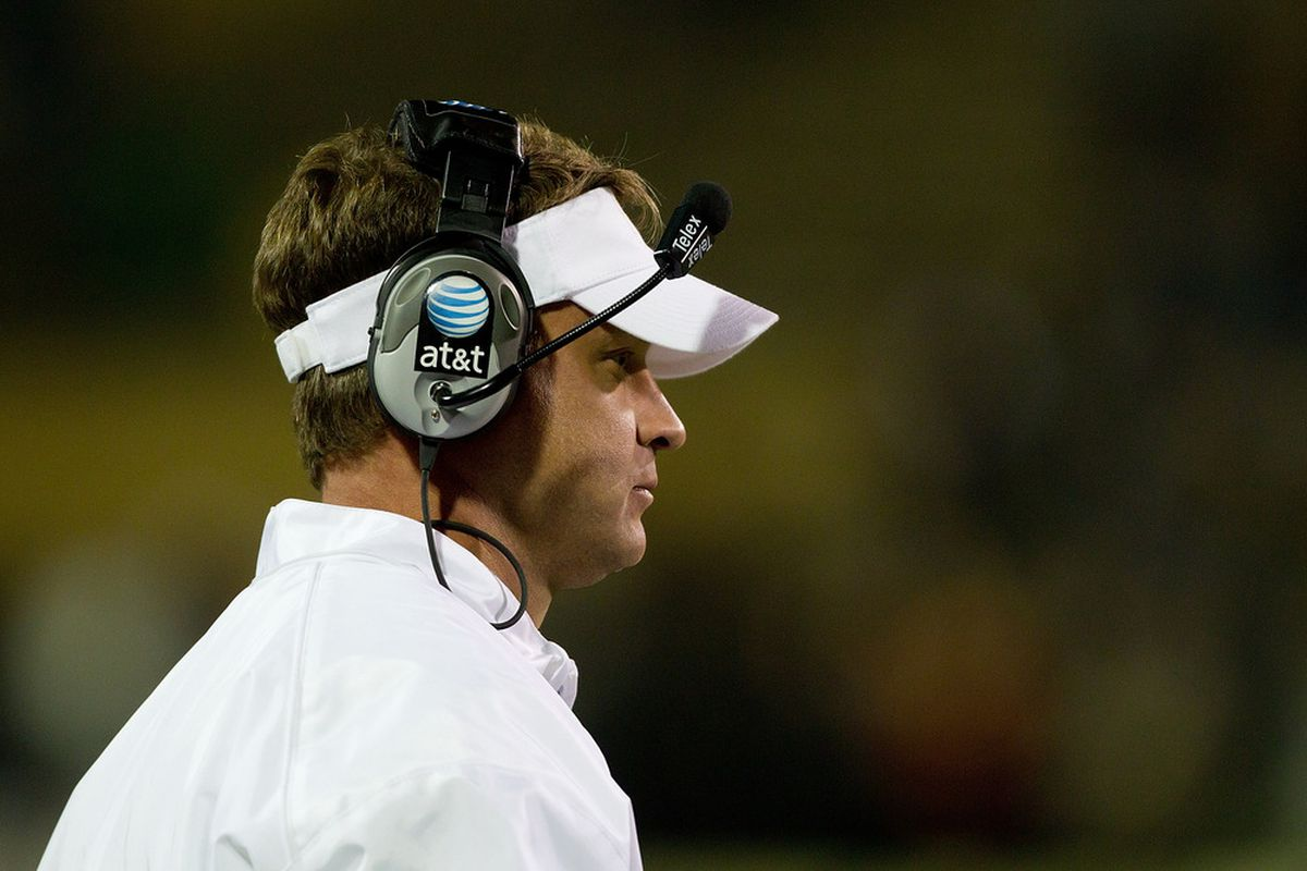 BOULDER, CO - NOVEMBER 4:  Head coach Lane Kiffin of the USC Trojans looks on from the sidelines during the fourth quarter against the Colorado Buffaloes at Folsom Field on November 4, 2011 in Boulder, Colorado. (Photo by Justin Edmonds/Getty Images)