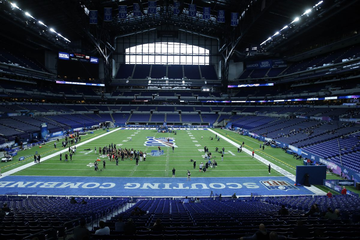 A wide angle general view of the linebackers going through their workout drills during the 2019 NFL Combine at Lucas Oil Stadium.