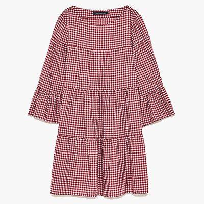 Red gingham mini dress.