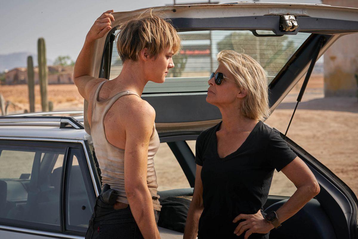 "Mackenzie Davis, left, and Linda Hamilton star in Skydance Productions and Paramount Pictures' ""TERMINATOR: DARK FATE."""