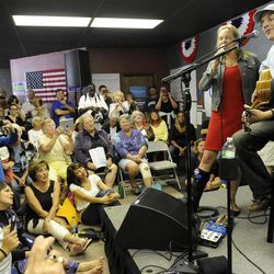 Musician James Taylor and wife Kim perform at OFA-MI Royal Oak Grassroots Headquarters in Royal Oak, Mich., Sunday, Sept, 9, 2012. Taylor also sang at last week's Democratic National Convention in Charlotte, N.C. Obama supporters are enlisting new volunteers heading into the final weeks of the 2012 presidential campaign.