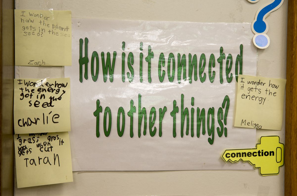 Part of the coursework that emphasises themed coordination between classrooms and departments at Center for Inquiry School 84, Indianapolis, Wednesday, May 18, 2016. Ethnically, the magnet school is one of the least diverse in the IPS system, and enrollment priority is given to kids living near its Meridian-Kessler location.