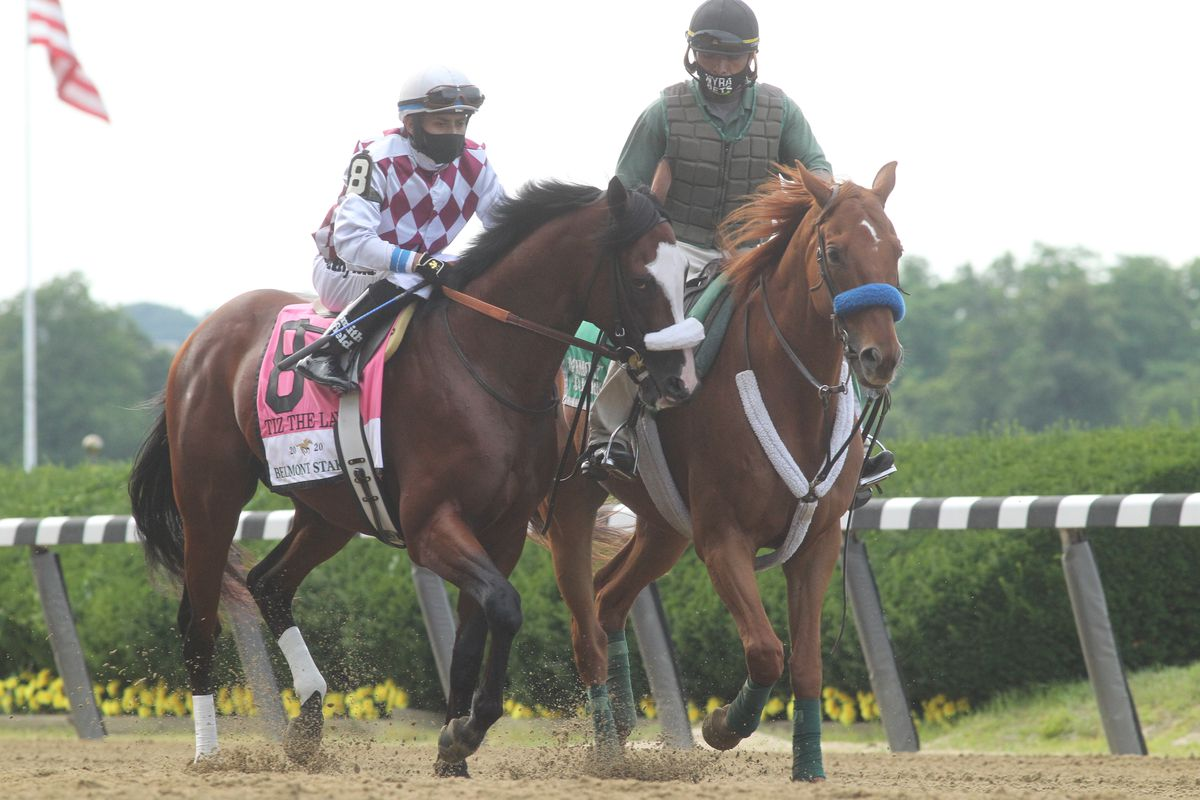 Tiz The Law with Manuel Franco up wins the Belmont Stakes at Belmont Park Racetrack, on June 20, 2020 in Elmont, New York.