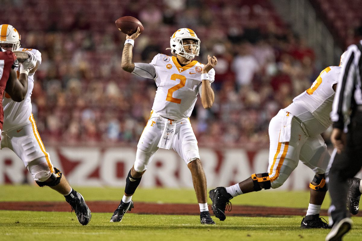 Jarrett Guarantano #2 of the Tennessee Volunteers throws a pass in the first half of a game against the Arkansas Razorbacks at Razorback Stadium on November 7, 2020 in Fayetteville, Arkansas.