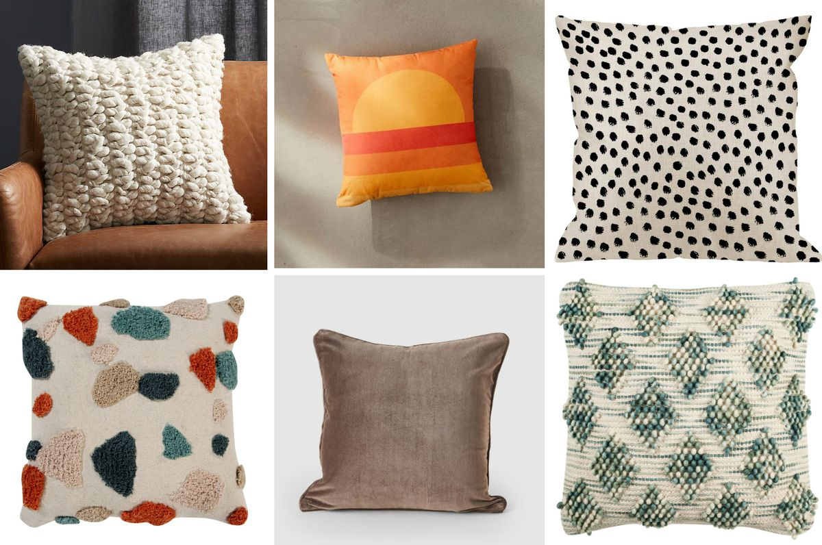 A collage of six square pillows, with designs ranging but chunky knit to polka dots and velvet.