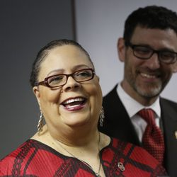 CTU President Karen Lewis talks to reporters about the state of negotiations with the city on the underfunded teachers' pensions Friday, March 28, 2014.