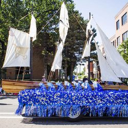 The Midvale Utah North Stake float is pictured during the Days of '47 Union Pacific Railroad Youth Parade held Saturday, July 18, 2015, in Salt Lake City.