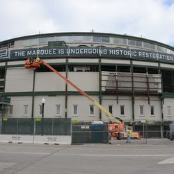 11:12 a.m. The front of the ballpark, with temporary banners at the top -