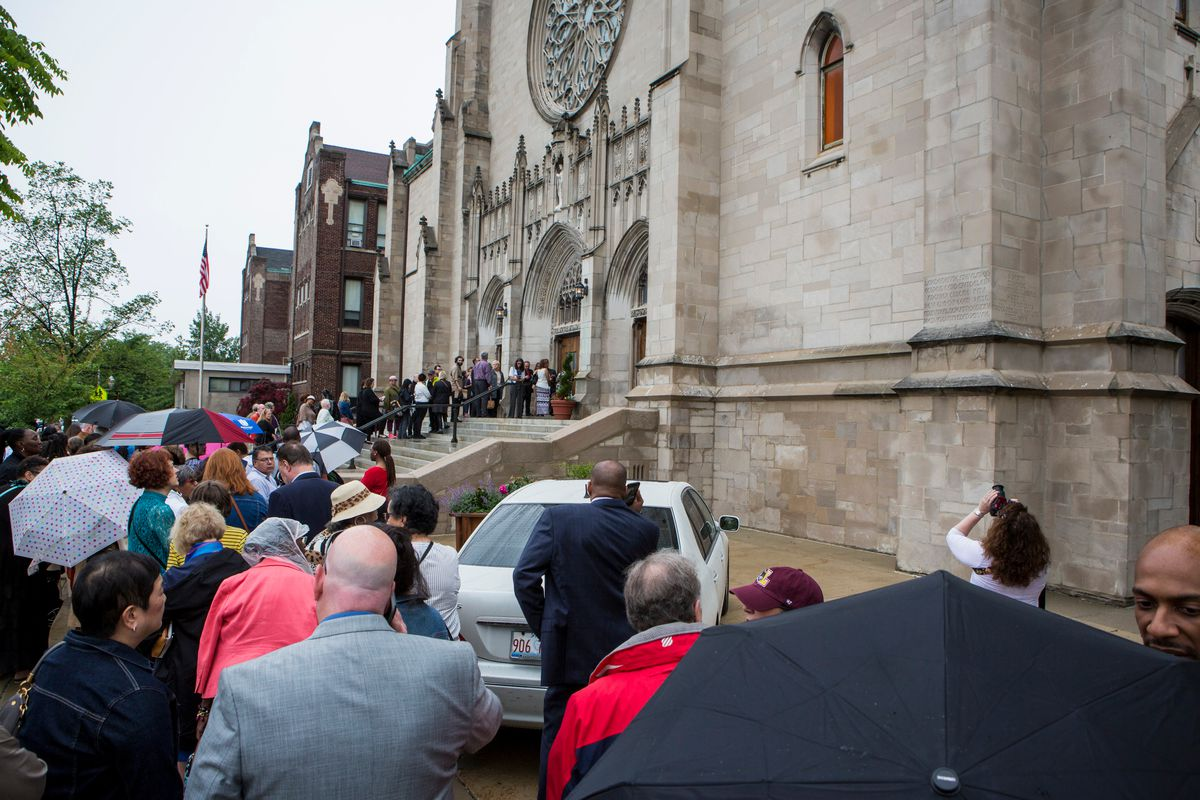 The audience lines up Sunday for the Concert For Peace at Saint Sabina Church. | James Foster/For the Sun-Times