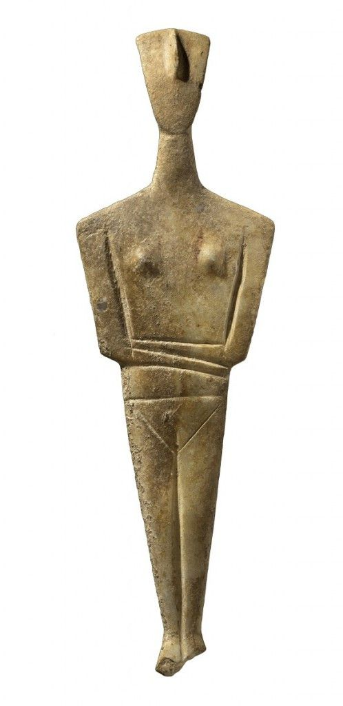 """Cycladic figure, part of The Field Museum's exhibition, """"The Greeks: Agamemnon to Alexander the Great."""" (Courtesy of National Archaeological Museum, Athens). 