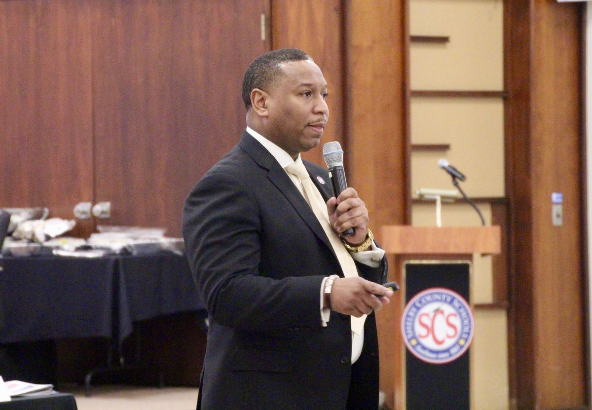Interim superintendent Joris Ray presents before the Shelby County Commission during a budget preview last week.