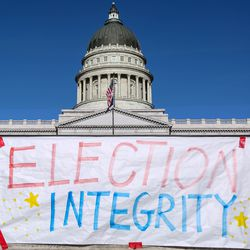 """A sign near the Capitol reads """"Election Integrity"""" in Salt Lake City on Wednesday, Jan. 6, 2021."""