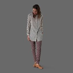 """Apiece Apart, Augustina button down shirt in nude; <a href=""""http://www.millmercantile.com/Apiece_Apart_Augustina_Button_Down_Shirt_in_Nude_Blocks_13592.html"""">$350</a>; Pietra skinny pants in vino blocks, <a href=""""http://www.millmercantile.com/Apiece_Apart"""