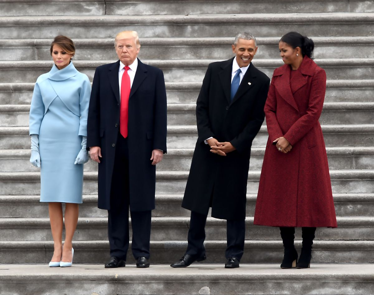 President Trump before his inauguration, wearing his signature overlong red tie.