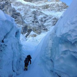 Climbers work their way up Mount Everest in May.
