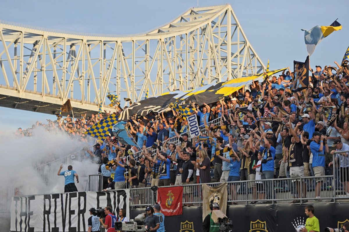 CHESTER PA - SEPTEMBER 11: Philadelphia Union fans cheer during the game against the Chicago Fire at PPL Park on September 11 2010 in Chester Pennsylvania. The Union won 1-0. (Photo by Drew Hallowell/Getty Images)